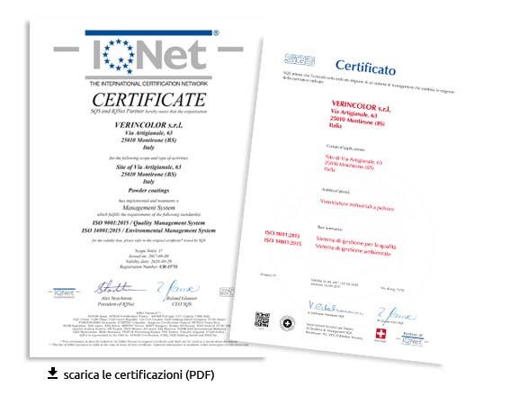 Certificazioni di Qaulità Verincolor