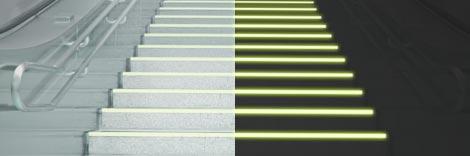 comportamento della verniciatura fotoluminescente in diverse condizioni luminose
